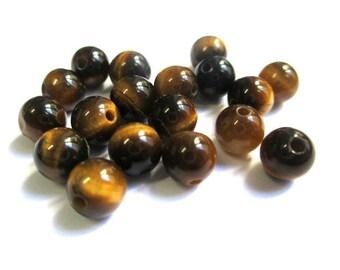 10 pearls 6mm Tiger eye, natural (G-10)