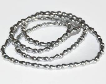 70 beads bone 8x4mm silver electroplate