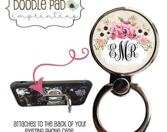 Monogram Floral Phone Ring Stand, Roses Ring Phone Holder, Ring Stand Cell, Personalized Iphone Accessory