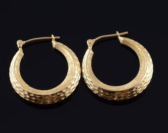 14k 24mm Hollow Dimpled Circle Hoop Earrings Gold