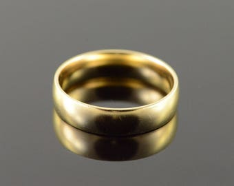 10k 5.7mm Classic Plain Wedding Band Men's Ring Gold