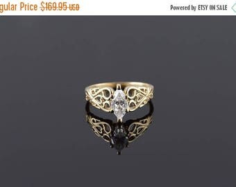 Big SALE 10k Marquise CZ Fancy Scroll Travel Engagement Ring Gold