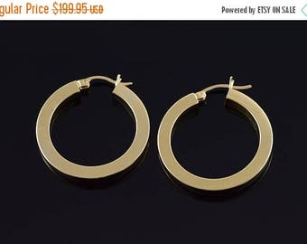 Big SALE 14k 31mm Circle Square Tube Hoop Earrings Gold