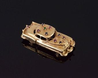 14k 3D Sapphire Ruby Emerald 40's Era Style Car Pendant Gold