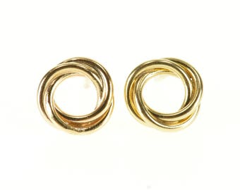14k Twist Interlocking Circle Post Back Stud Earrings Gold
