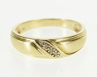 10k Diamond Diagonal inset Rounded Men's Wedding Ring Gold