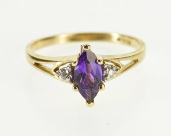 10k Marquise Amethyst Diamond Accent Three Stone Ring Gold