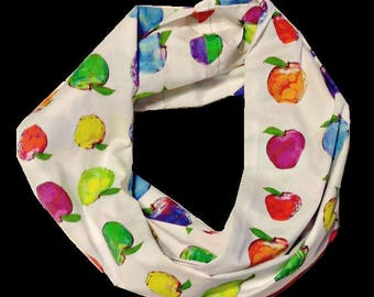Watercolor Apples Art Infinity Scarf -Colorful-Original -Artistic Scarf-Unique- Impressionistic-  Fine Art for Teachers