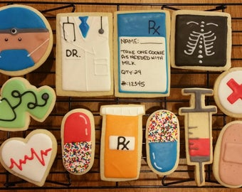 Doctor Theme Cut Out Cookies - 1  Dozen