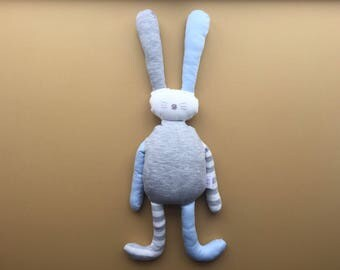 Personalised flopsy bunny rabbit soft cuddly toy teddy plushie handmade baby boy newborn gift 1st birthday blue green grey ivory stripe