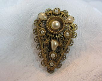 Vintage Brass Filigree and Faux Pearl Dress Clip