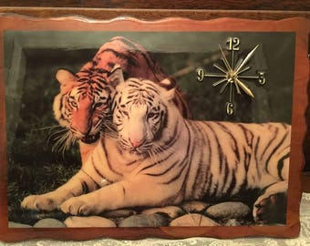 1980's Clock tigers on wood base