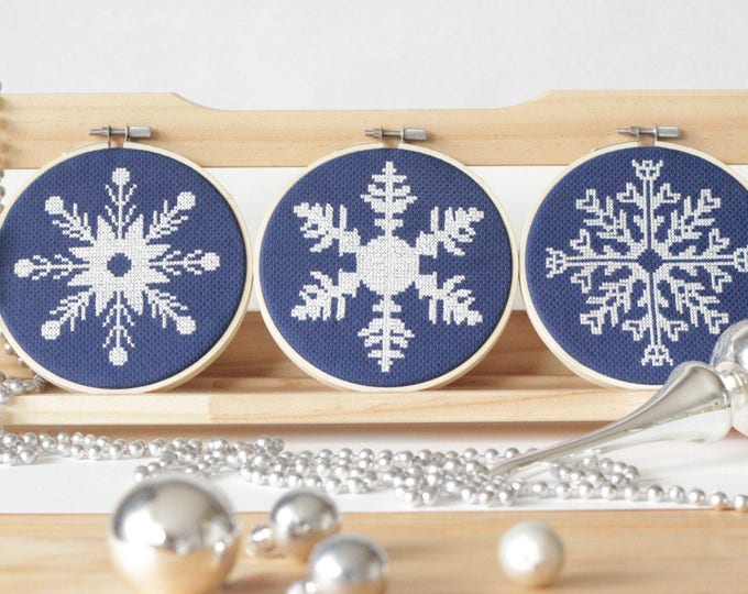 Featured listing image: Set of Three Snowflake Pattern Set Modern cross stitch Sale Multi Buy Deal instant PDF download winter Christmas Cross Stitch Sale Chart