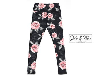 Woman leggings - Pink flower