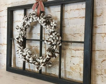old window frame decor with cotton wreath antique window - Window Frame Decor