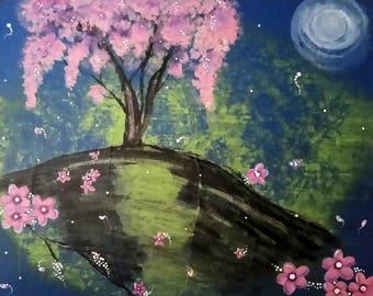 Acrylic Painting, Zen Wall Art, Cherry Blossom Tree