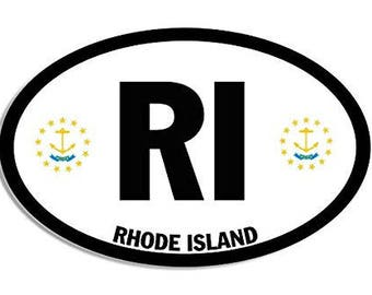 Euro Style Oval RI Rhode Island Bumper Sticker (state flag decal)