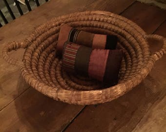 Antique Rye Basket with Handles