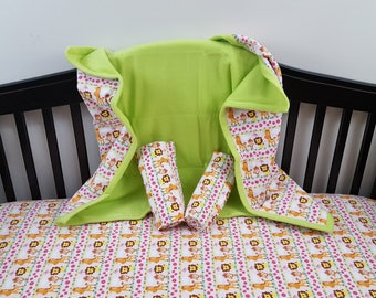 Safari Girl Baby Crib Set/ crib blanket,crib fitted sheet and two receiving blankets
