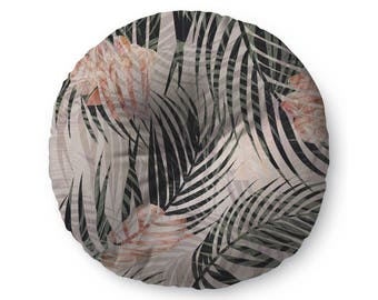 Pink Tropical Leaves  - floor pillow