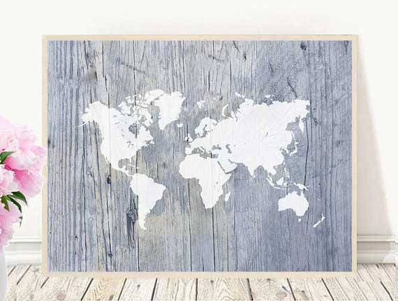 Large world map poster world map print map wall art large world map poster world map print map wall art nautical world map canvas wall art world map art wall decor map of the world gumiabroncs Image collections