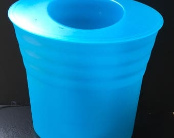Vintage Tupperware Blue Impressions Ice Bucket Champagne Wine Cooler Chiller Patio Pool RV Camping Entertainment Hostess Gift Flower Vase
