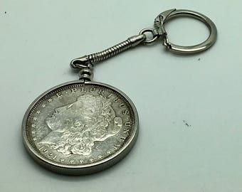 1921 Silver Morgan Dollar Key Chain Key Fob Set In Bezel Coin Collector Gift Anniversary Key Ring Birthday Gift Valentines Day