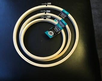 "Loops & Threads Bamboo Hoop Set 5 "" 6 "" 8 ""  Cross Stitch Embroidery Hoop Art Craft Supply"