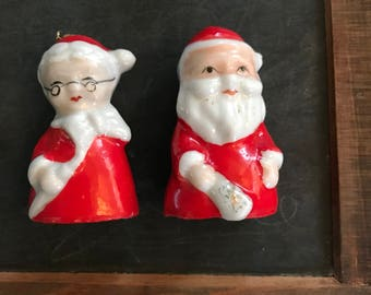 Santa Claus and Mrs. Claus Vintage Bell Set Made in Japan