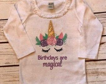 Unicorn birthday shirt, magical birthdays unicorn shirt, embroidered unicorn shirt, girls birthday shirt with unicorn