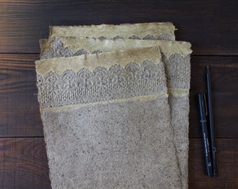Handmade paper sheets - Decorative paper - Lace paper - Textured paper - Art paper - Eco friendly - Writing paper - Letter Paper (#29l)