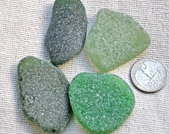 4 Large  Sea Glass Pieces, Green Sea Glass, Authentic Sea Glass, Genuine Sea Glass, Frosted Surf-Tumbled Beach Glass