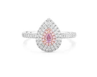 0.51 carat Engagement Ring, Pink Diamond Ring, PearShape Diamond, Engagement Ring, Custom made Ring, Diamond Jewelry, Anniversary Present