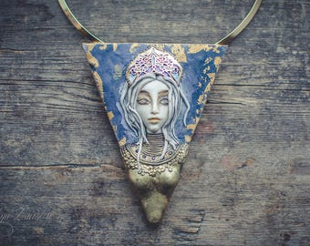 Statement necklace Bib necklace Russian princess necklace gold blue necklace polymer clay necklace fantasy necklace choker necklace