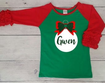 Green body and red sleeves Ruffle Raglan
