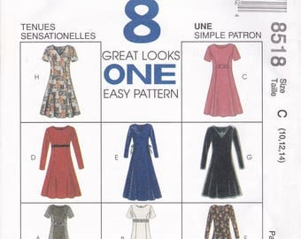 FREE US SHIP McCalls 8518 Sewing Pattern Uncut Retro 1990s 90's  8 Great Looks Dress Empire Trim  Size 8 10 12 14  Bust  31 32.5 34 36 new