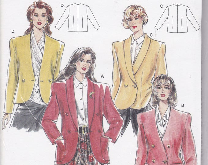 FREE US SHIP Burda 4927 Retro 1990s 90's Sewing Pattern Double Breasted Jacket Size 12 14 16 18  20 22  Bust 34 36 38 40 42 44 plus Uncut