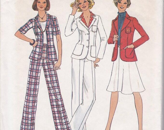 FREE US SHIP Simplicity 6876 Vintage Retro 1970's 70's Sewing Pattern  Size 12 Bust 34 Uncut Pantsuit High Waist Jacket Pants Wide leg Skirt