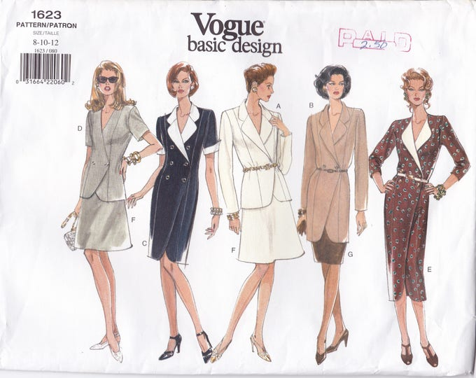Free Us Ship Sewing Pattern Vogue 1623 Vintage 1990s 90's Double Breasted Coatdress Dress 8 10 12 Bust 31.5 32.5 34 Uncut Large Envelope