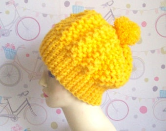 Yellow beanie hat Slouchy beanie hat Yellow hat soft warm knitted hat with Pom Pom