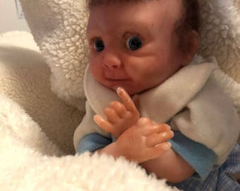 Miniature Reborn Baby Doe Suede aRooted Hair