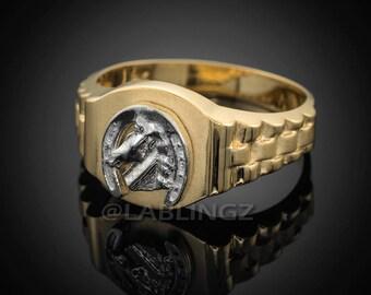 Mens Gold Lucky Horseshoe Good Luck Ring (yellow, white, rose gold, 10k, 14k)