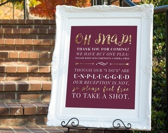 Unplugged Wedding Sign, Unplugged Ceremony Sign, Wedding Ceremony Sign, No Photos at Wedding Sign, Burgundy Wine Wedding Sign