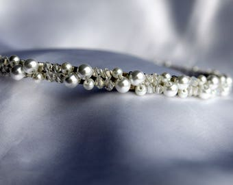 Brides white pearl headband, Bridal white pearl tiara, Pearl cluster bridal tiara band, bridal hair accessory, white wedding hair accessory,