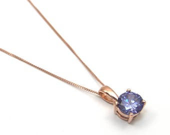1ct Solitaire 4 Claw Tanzanite Pendant set in 9ct Gold Fully UK Hallmarked, December Birthstone