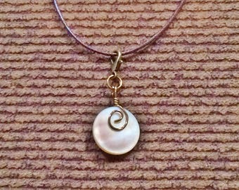 Vintage Smoky Mother of Pearl Button Floating Charm Pendant Necklace With Brown Cord #30023