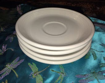 Fiesta ware, white-ivory 5 in saucer plate, 80s fiesta hlco, made USA Geniune FIESTA four plates