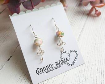 Pastel Drop Earrings - Silver Beaded Earrings - Patterned Bead Earrings - Delicate Silver Studs - Gifts for Her - Valentines Gift - Earrings