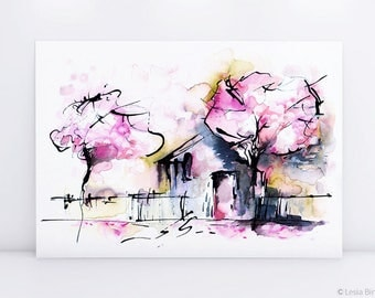 Dream House, watercolor art, ink painting, watercolor pink print, bright abstract painting, pink flower, pink watercolor