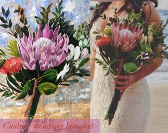 Custom Bridal Bouquet Painting | Wedding Bouquet Painting | NewlyWeds | Gift For Wife | First Anniversary